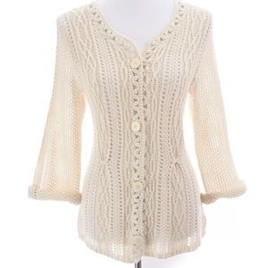 Coldwater Creek Cable Knit Button Up Cardigan Sz M